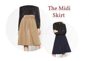 Reversible midi skirt