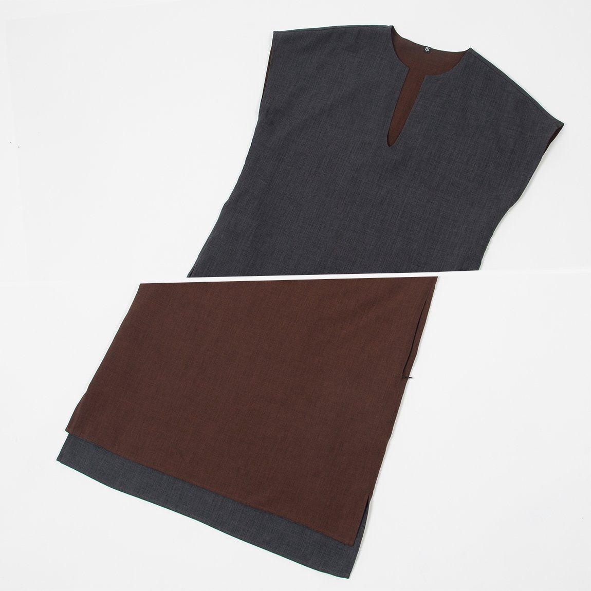 Reversible chocolate and charcoal tunic beta brand