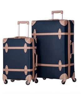 Merax 2 Piece Luggage Set Vintage Suitcase Navy